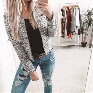Zara Tweed Zip Up Jacket Black White Small